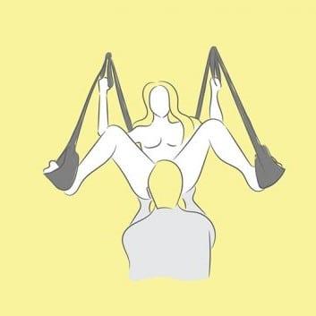 Sexställningar i sexgunga - Oralsex